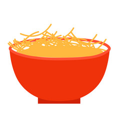 cooked pasta in bowl prepared food plate icon vector image