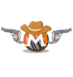 Cowboy monero coin character cartoon vector