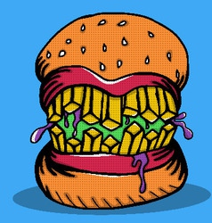 Crazy Burger Monster Doodle vector image