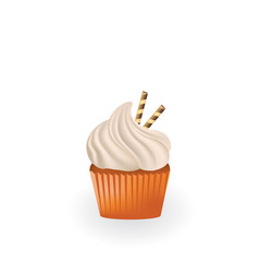 cupcake with white cream and waffles vector image