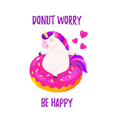 cute cartoon unicorn with donut template vector image