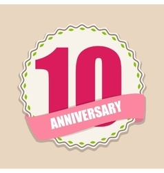 Cute Template 10 Years Anniversary Sign vector