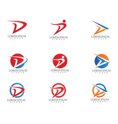 D letter faster logo template icon design vector