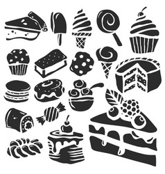 Dessert and baking icons vector