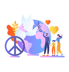 Family celebrate world peace day waving hands vector