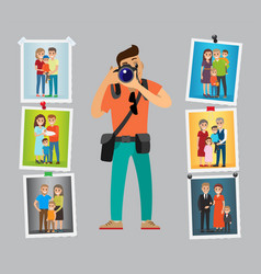 family photographer with digital camera take photo vector image