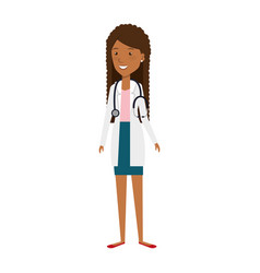Female doctor with stethoscope avatar character vector