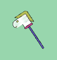 Flat shading style icon stick horse toy vector