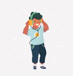 funny boy cartoon listening music vector image