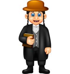 Funny pastor in black suit cartoon vector