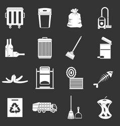 Garbage thing icons set grey vector