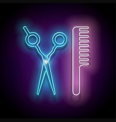 Glow hairdressing scrissors and hairbrush vector