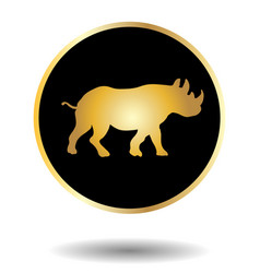 Golden and black icon with rhino isolated on vector