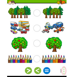 Greater less or equal cartoon game for kids vector