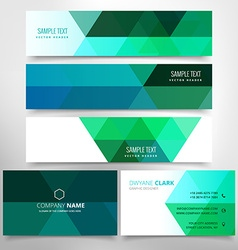 Green low poly business stationary set vector