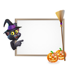 halloween black cat sign vector image