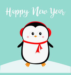 Happy new year penguin on snowdrift red vector