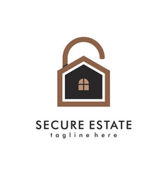 home security logo design house guard real estate vector image
