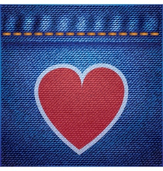 jeans background and heart vector image