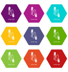 jump rope icons set 9 vector image