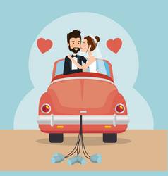 just married couple with car avatars characters vector image