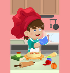 Kid cooking in the kitchen vector