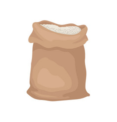 Large bag full of rice or flour big brown sack vector