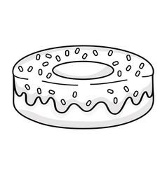 Line delicious fresh donut dessert pastry vector