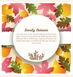 lovely autumn round greeting card vector image