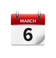 March 6 flat daily calendar icon Date and vector
