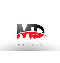 Md m d brush logo letters with red and black vector