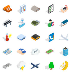 military aviation icons set isometric style vector image