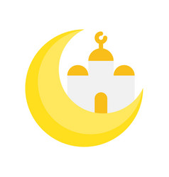 Mosque with moon ramadan related flat icon vector