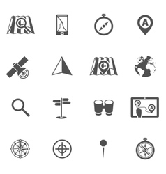 Navigation icon black set vector