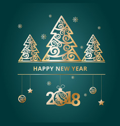 New year 2018 green banners vector