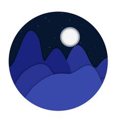 night landscape mountains flat design vector image