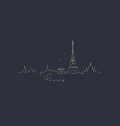 Pen line silhouette paris dark blue vector