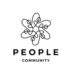 people family community line outline logo icon vector image