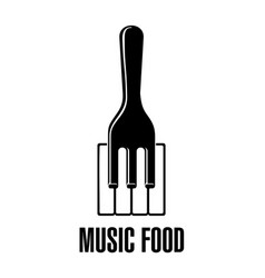 Piano fork music logo symbol sound image vector
