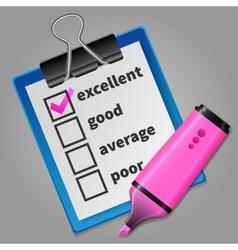 Pink felt tip pen and blue checklist vector