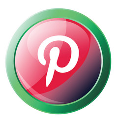 Pinterest logo button with green round circle vector