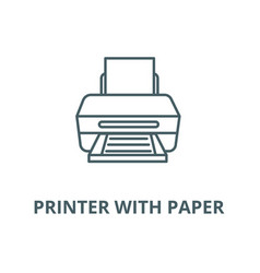 Printer with paper line icon linear vector