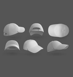 realistic cap white 3d baseball hat mockup vector image