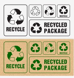 Recycled and packaging symbol sign for cargo vector