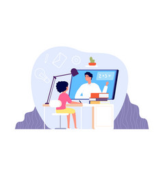 remote learning kid studying on computer student vector image