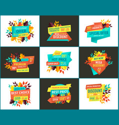 Sale with exclusive offer and best choice posters vector