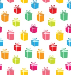 seamless pattern colorful simple gift boxes vector image