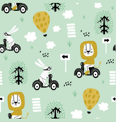seamless pattern with bunny and lion riding on vector image