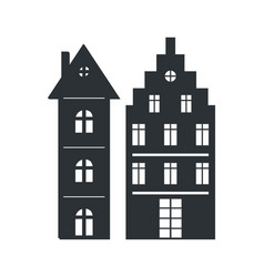 Set multi storey houses black silhouettes isolated vector