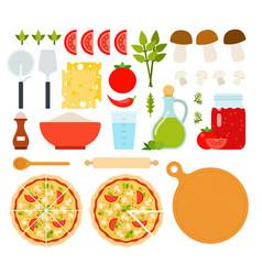 set mushrooms pizza icons flat vector image